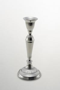 Candeliere argentato argento sheffield stile cannettato cm.23,75h