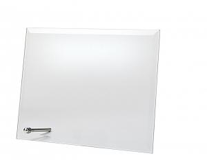 Targa in vetro rettangolare con supporto cm.22x17