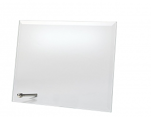 Targa in vetro rettangolare con supporto cm.25x22