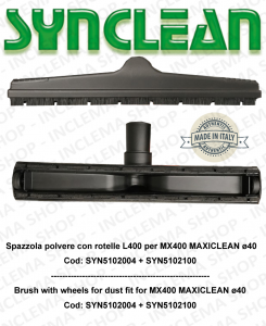 Cepillo de pulvo con rotelle adatta para MX400 Maxiclean kit ø 40  Cod: SYN5102004 + SYN5102100