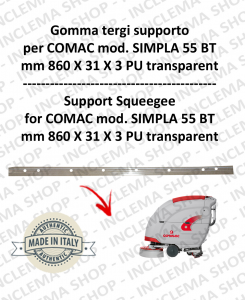 Gomma tergipavimento supporto for Scrubber Dryer COMAC SIMPLA 55 BT