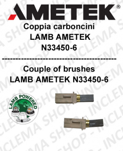 COPPIA di Carboncini moteur aspiration  pour motore LAMB AMETEK  2 x cod. N33450-6