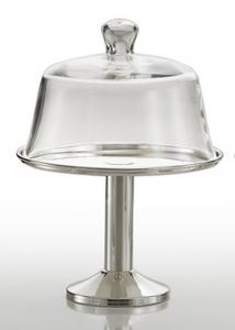 Alzata frutta in metallo argentato Argento con cupola in vetro cm.29h diam.21