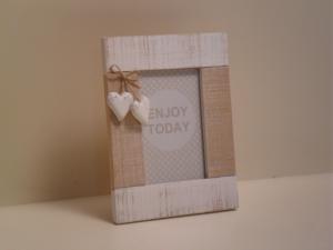 Portafoto rettangolare in legno bianca con decorazione 2 cuori stile Shabby Chic cm.14x14