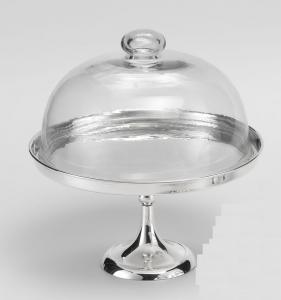 Alzata per Dolci e Frutta in Sheffield Placcato Argento con Cupola in  Vetro stile Cardinale cm.30h diam.27,5
