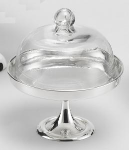 Alzata per Dolci e Frutta in Sheffield Placcato Argento con Cupola in  Vetro stile Cardinale cm.20h diam.18