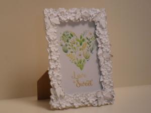 Portafoto Bianca rettangolare con decorazione bordi fiori e farfalle in gesso stile Shabby Chic cm.13,5x13,5