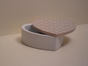 Scatola Cuore Portagioie Bianca con coperchio apribile Beige stile Shabby Chic cm.12x12,5x5h