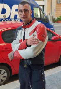GIUBBOTTO IN PELLE DA MOTOCICLISTA UOMO VINTAGE ANNI 80 MULTICOLOR