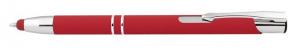 Penna in alluminio gommata rossa con touch cm.14x1x1h