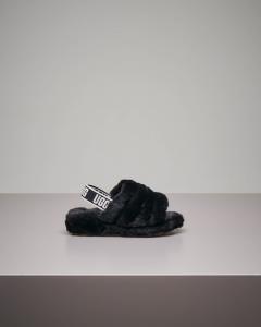Ciabatta sandalo nera con logo