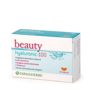 Beauty Hyaluronic 100 acido ialuronico 100 mg per capsula, collagene marino e vitamina C 30 cps