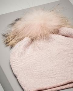 Berretto rosa in maglia con inserti in lurex e pon pon in pelliccia
