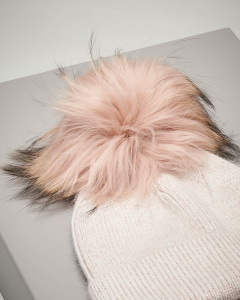 Berretto rosa in maglia con pon pon in pelliccia