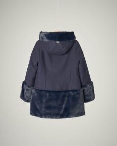 Cappotto blu con pelliccia