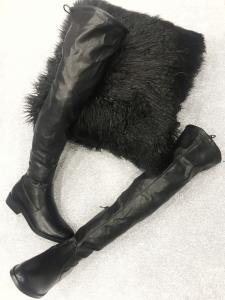 Stivale aĺto in eco-pelle elasticizzato stretto con tacco basso n 36/37/38/39/40/41