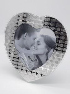 Cornice in argento e vetro portafoto portaritratto a forma di cuore, vendita on line | GIOIELLERIA BRUNI Imperia