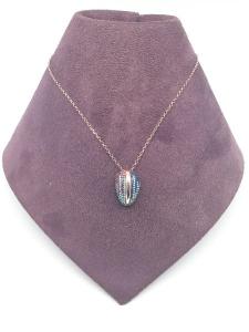 Collana Donna in argento 925 rosato con ciondolo in pavé di zirconi multicolor, vendita on line | GIOIELLERIA BRUNI Imperia
