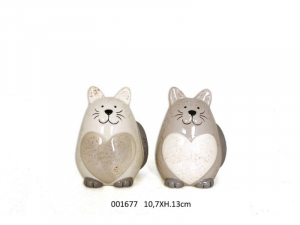 Gattone grande in ceramica con un cuore (001677