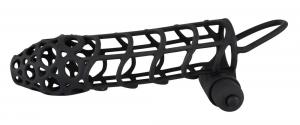 BLACK VELVETS Manicotto guaina per il pene a batteria lungo 14 cm diam 3-3,6 cm