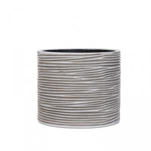 CAPI EUROPE Vaso cylinder rib ivory da interno lite material bianco 14X14X14