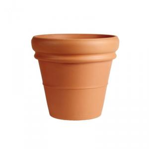DEGREA Vaso doppio bordo da esterno terracotta lavorato marrone diametro cm. 50