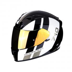 CASCO MOTO INTEGRALE SCORPION EXO-710 AIR GT BLACK WHITE GOLD