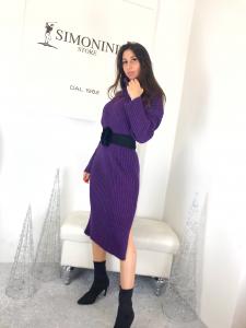 Maxi abito in maglia a coste manica lunga con collo alto misto lana  made in italy TG unica