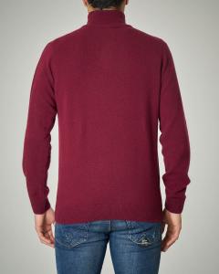 Maglia bordeaux a collo alto con zip in lana