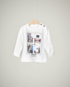 T-shirt bianca a manica lunga con stampa