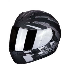 CASCO MOTO INTEGRALE SCORPION EXO-390 PATRIOT MATT BLACK SILVER