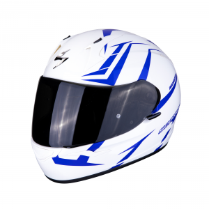 CASCO MOTO INTEGRALE SCORPION EXO-390 HAWK PEARL WHITE BLUE