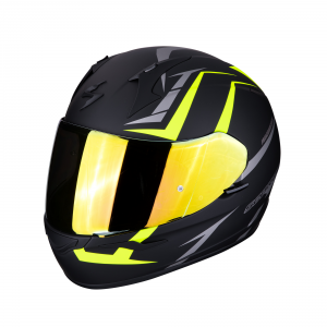 CASCO MOTO INTEGRALE SCORPION EXO-390 HAWK MATT BLACK NEON YELLOW