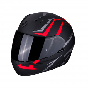 CASCO MOTO INTEGRALE SCORPION EXO-390 HAWK MATT BLACK NEON RED