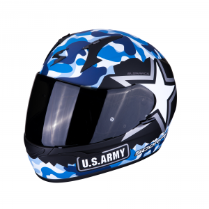 CASCO MOTO INTEGRALE SCORPION EXO-390 ARMY MATT BLACK BLUE
