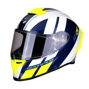 CASCO MOTO INTEGRALE SCORPION EXO-R1 AIR CORPUS WHITE BLUE NEON YELLOW