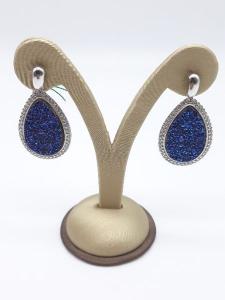 Orecchini in argento geodi blu con contorno di zirconi, vendita on line | GIOIELLERIA BRUNI Imperia