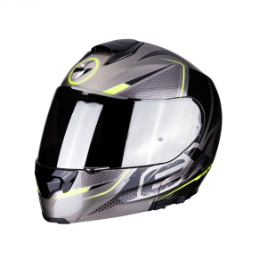 CASCO MOTO MODULARE SCORPION EXO-3000 AIR CREED TITANIUM BLACK NEON YELLOW