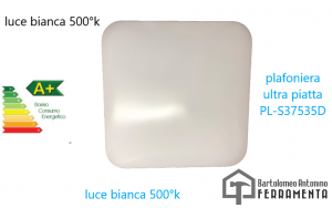 Applique plafoniera ultrapiatta led 375x375 mm 35w 5000°k luvìce bianca