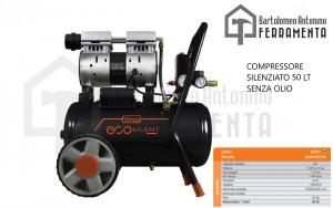 Compressore Silenziato Portatile 50 LT Senza Olio