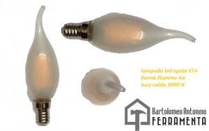 lampada led opale forma fiamma E14 4w luce calda 3000°K