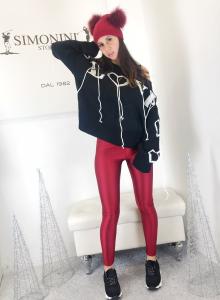 Maglione love in misto lana manica lunga modello corto con scritta oricamata e fili di lana TG unica