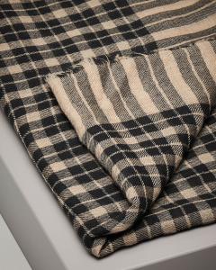 Sciarpa in lana a fantasia check beige e nero