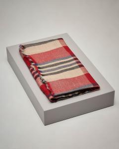 Sciarpa in lana a fantasia check beige e rosso