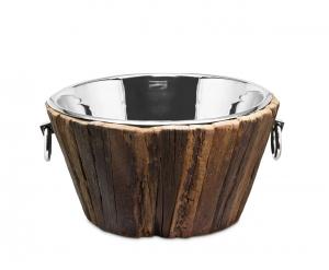 Secchiello per Spumante in Acciaio Inox e legno con maniglie cm.22,5h diam.46