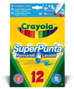 CRAYOLA 12 Pennarelli Superpunta Lavabili Gen Pennarelli Artistici Gioco Disegno 243