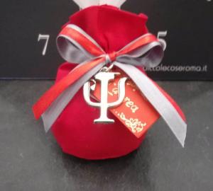 Sacchetto Laurea rosso con simbolo Psicologia in metallo