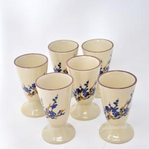 Tazze Ceramica 6pz Disegno Fiori