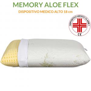 Cuscini Letto 40x70 alti 18 cm con tessuto ALOE VERA Sfoderabili e Lavabili Imbottitura 100% MEMORY FOAM Guanciali ANTIRUSSAMENTO Ortopedici per SOLLIEVO dal dolore al Collo e Cervicale
