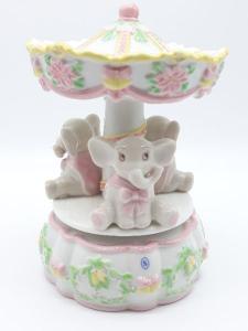 Carillon giostra con elefantini rosa in ceramica, vendita on line | GIOIELLERIA BRUNI Imperia